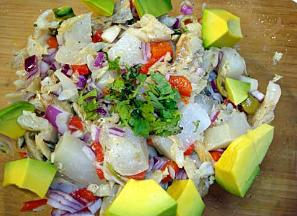 Ensalada de chayote y bacalao (Chayote and Salted Codfish Salad)